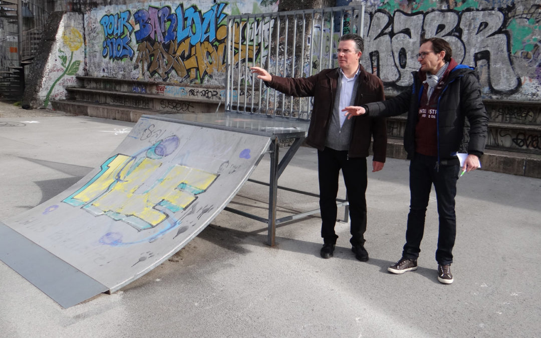 Installation d'un cinquième module au skate parc à l'Espace Marc Astier