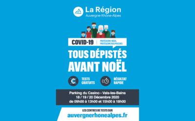 COVID-19 – Venez vous faire tester les 18, 19 et 20 Décembre à Vals-les-Bains
